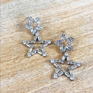 Cubic Zirconia Baguette Star Dangle Earrings